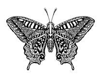 Zentangle estilizou a borboleta Foto de Stock