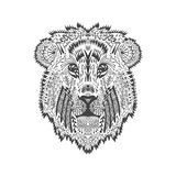 Zentangle estilizou a cabeça do leão Imagem de Stock Royalty Free