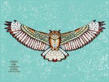 Zentangle estilizou a coruja de águia Esboço para a tatuagem ou Fotografia de Stock