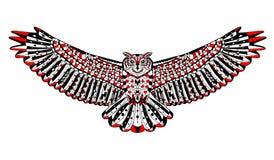 Zentangle estilizou a coruja de águia Esboço para a tatuagem ou Imagens de Stock Royalty Free