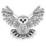 Zentangle estilizou a coruja preta Iso tirado mão da ilustração do vetor ilustração royalty free