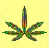 Zentangle estilizou a folha da marijuana Esboço para Fotos de Stock Royalty Free