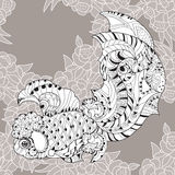 Zentangle estilizou a garatuja floral dos peixes da porcelana Ilustração Stock