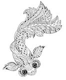 Zentangle estilizou a garatuja floral dos peixes da porcelana Ilustração Royalty Free