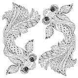 Zentangle estilizou a garatuja floral dos peixes da porcelana Ilustração do Vetor