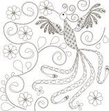Zentangle estilizou a mão preto e branco do pássaro tirada ilustração stock