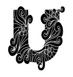 Zentangle estilizou o alfabeto Letra U no estilo da garatuja Pia batismal desenhada mão do esboço Imagens de Stock