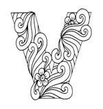 Zentangle estilizou o alfabeto Letra V no estilo da garatuja Pia batismal desenhada mão do esboço Fotografia de Stock