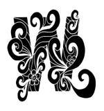 Zentangle estilizou o alfabeto Letra W no estilo da garatuja Pia batismal desenhada mão do esboço Imagem de Stock
