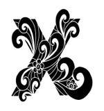 Zentangle estilizou o alfabeto Letra X no estilo da garatuja Pia batismal desenhada mão do esboço Fotos de Stock