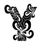 Zentangle estilizou o alfabeto Letra Y no estilo da garatuja Pia batismal desenhada mão do esboço Fotos de Stock