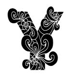 Zentangle estilizou o alfabeto Letra Y no estilo da garatuja Pia batismal desenhada mão do esboço Fotos de Stock Royalty Free