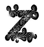 Zentangle estilizou o alfabeto Letra Z no estilo da garatuja Pia batismal desenhada mão do esboço Fotos de Stock Royalty Free