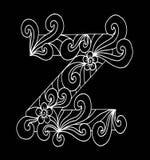 Zentangle estilizou o alfabeto Letra Z no estilo da garatuja Pia batismal desenhada mão do esboço Imagens de Stock