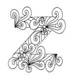 Zentangle estilizou o alfabeto Letra Z no estilo da garatuja Pia batismal desenhada mão do esboço Imagem de Stock