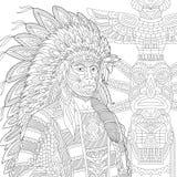 Zentangle estilizou o chefe indiano vermelho (o homem da pele-vermelha) Fotografia de Stock