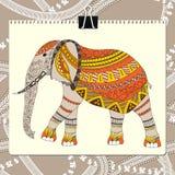 Zentangle estilizou o elefante Coleção animal Doodle tirado mão Ilustração modelada étnica do vetor Africano, indiano ilustração do vetor