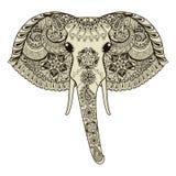 Zentangle estilizou o elefante indiano Illustrati tirado mão do vetor ilustração stock