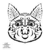 Zentangle estilizou o gato Esboço para a tatuagem ou o t Foto de Stock Royalty Free