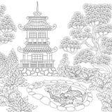 Zentangle estilizou o pagode Fotografia de Stock