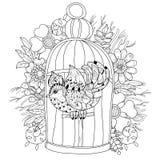 Zentangle estilizou o pássaro na gaiola Vetor desenhado mão Fotografia de Stock Royalty Free
