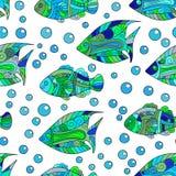 Zentangle estilizou o teste padrão sem emenda do shell do mar Ilustração aquática tirada mão do vetor da garatuja Vida do oceano  Imagens de Stock