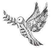 Zentangle estilizou a pomba da paz com ramo de oliveira para Internationa Foto de Stock