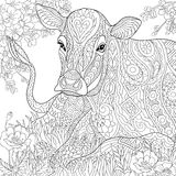 Zentangle estilizou a vaca Imagem de Stock Royalty Free