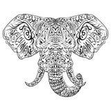 Zentangle ethnic indian Elephant boho paisley stock illustration