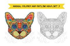 Zentangle ethnique Egypte tirée par la main fleurie Cat Head Photo stock