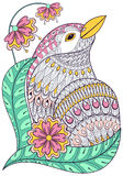 Zentangle exotic bird in colorful flowers.  Stock Photography