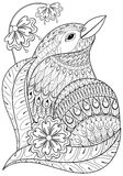 Zentangle exotic bird in flowers. Hand drawn ethnic animal for a Royalty Free Stock Images