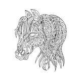 Zentangle för hästhuvud Arkivfoton