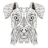 Zentangle för Schnauzerhundhuvudet stiliserade, vektorn, illustration arkivfoton