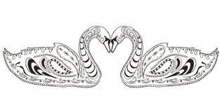 Zentangle för två svanar stiliserade, illustrationen, vektorn, frihandspenna Arkivfoto