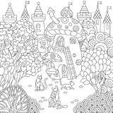 Zentangle fairy tale town Stock Image