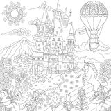Zentangle fairytale landscape Stock Images