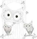 Zentangle, familia blanco y negro estilizada de los búhos que se sienta en el hueco y en ramas del tronco de árbol, mano dibujada Imagen de archivo libre de regalías