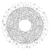 Zentangle feather mandala, page for adult colouring book. Vector design element. Ornamental round doodle flower isolated on white background vector illustration