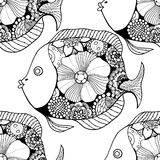 Zentangle fish background. Vector seamless pattern with Hand drawn fish with floral elements in black and white doodle style. Pattern for coloring book Royalty Free Stock Images