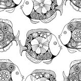 Zentangle fish background. Vector seamless pattern with Hand drawn fish with floral elements in black and white doodle style. Pattern for coloring book Stock Photo