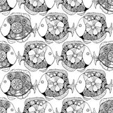 Zentangle fish background. Vector seamless pattern with Hand drawn fish with floral elements in black and white doodle style. Pattern for coloring book Royalty Free Stock Image