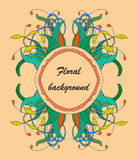 Zentangle floral element. Vector element in bright colors Stock Photography