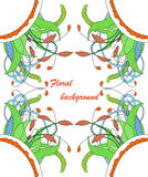 Zentangle floral element. Vector element in bright colors Stock Photos