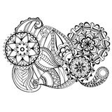 Zentangle floral tirado mão no fundo branco Imagens de Stock Royalty Free