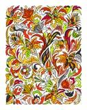 Zentangle floreale colorato etnico, rettangolo del modello del fondo di scarabocchio Fotografie Stock Libere da Diritti
