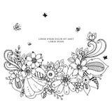 Zentangle floreale della struttura dell'illustrazione di vettore, scarabocchiante Zenart, scarabocchio, fiori, farfalle, delicato illustrazione vettoriale