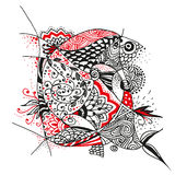 Zentangle flower black and red pattern Stock Photography
