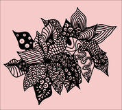 Zentangle flower. This illustration is in style zentangle,color,unique, this is flower very beautiful represented nature, color pink Royalty Free Stock Photography