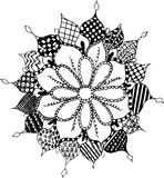 Zentangle flower, pattern, freehand, vector, illustration. Stock Photos